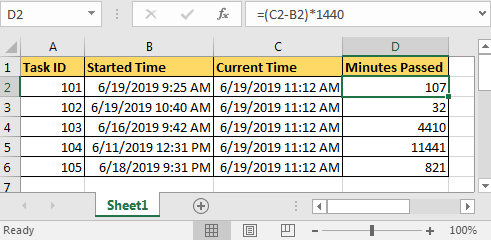 Calculate Minutes Between Date & Time In Microsoft Excel