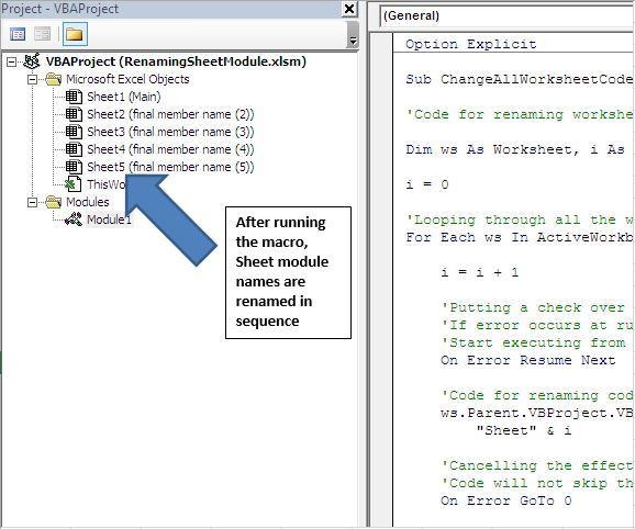 Rename the worksheet module name using VBA in Microsoft Excel – Rename Worksheet Vba
