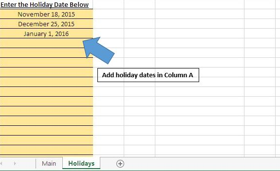 Calculate the count of workdays between two dates using vba in arrowholidaylist ibookread Download