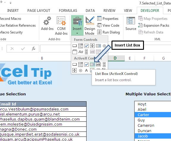 Selecting multiple values from List box using VBA in