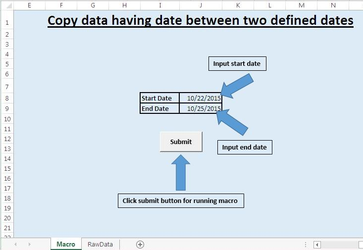 Copy data having date between two defined dates to new worksheet – Vba Copy Worksheet
