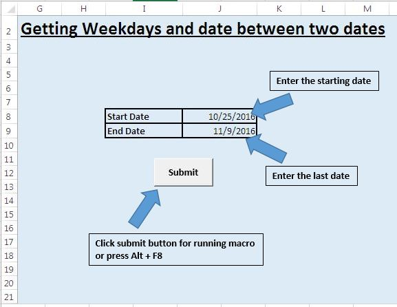 Enter the Weekdays Mon – Fri in a Worksheet using VBA in Microsoft Excel