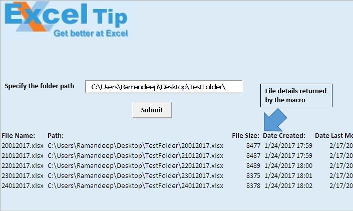 List details of all the files within a folder using VBA in