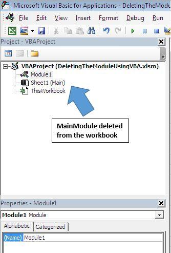Delete a module using VBA in Microsoft Excel