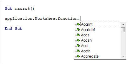 Worksheet functions in VBA macros using VBA in Microsoft Excel ...