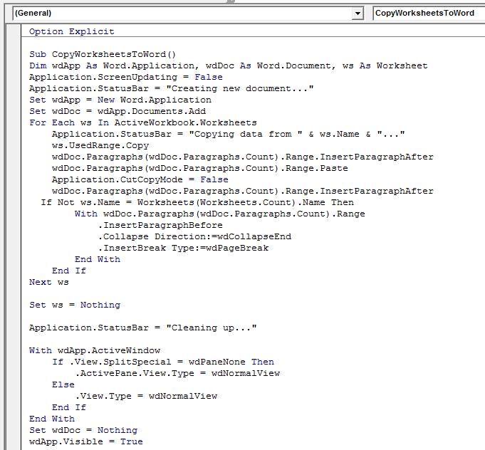 Copy worksheet information to Word using VBA in Microsoft Excel – Vba Worksheets