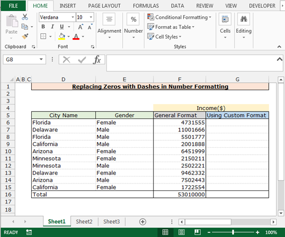 how to make 0 a dash in excel
