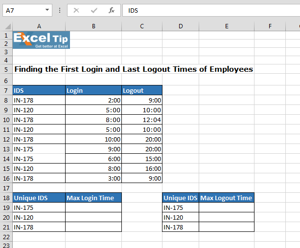 Finding the First Login and Last Logout Times of Employees