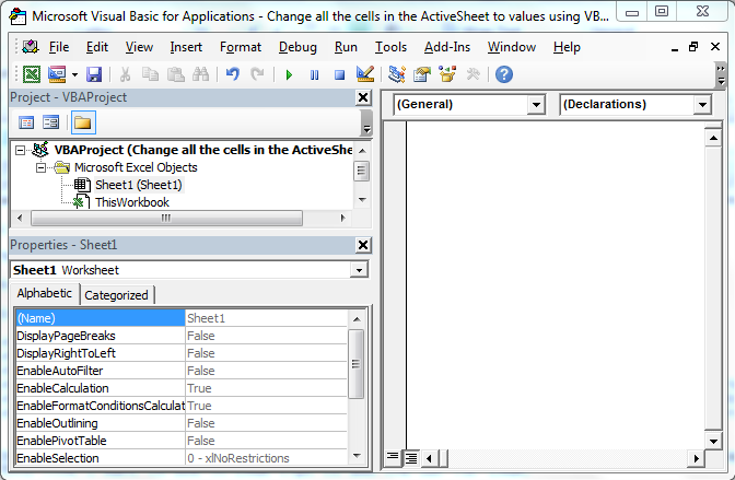 Change All The Cells In The Activesheet To Values Using Vba In Microsoft Excel