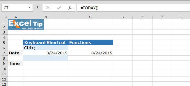 Keyboard shortcut to insert Current Date / Current Time