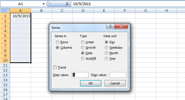 filling a range with a series of dates in excel 2007 excel editing