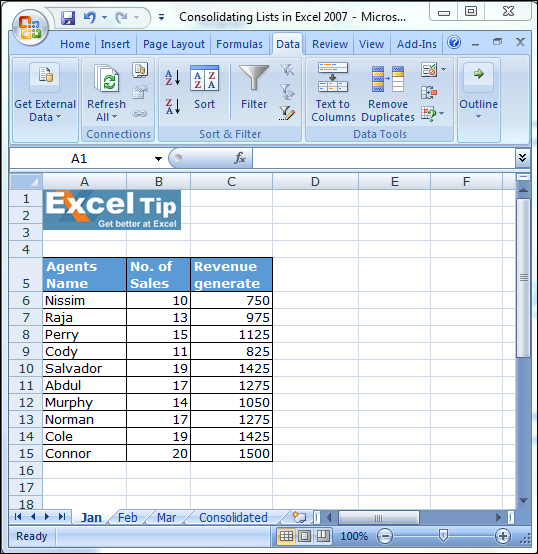 Merge worksheets in excel into one
