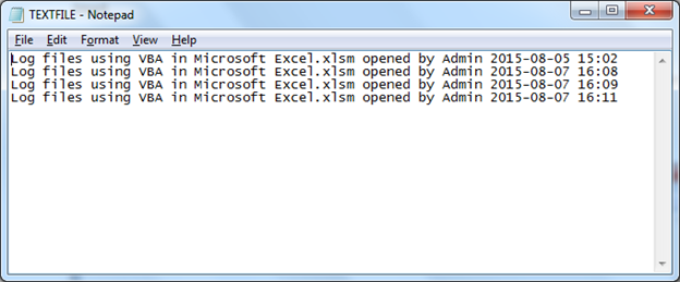 Log files using VBA in Microsoft Excel