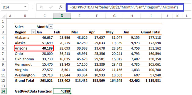 retrieving data using getpivotdata from a pivottable report in excel