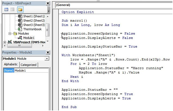 ScreenUpdating Property of Application Object VBA