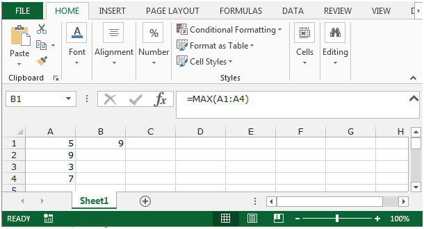 excel how to find largest value in row