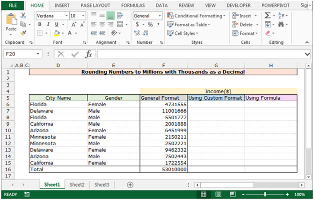 Rounding Numbers to Millions with Thousands as a Decimal in