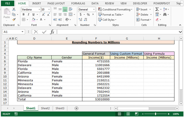 Rounding Numbers to Millions in Excel