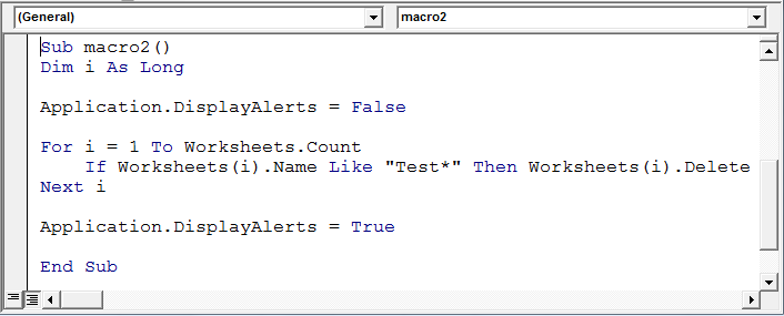 Delete Sheets Without Confirmation Prompts Using Vba In Microsoft. You Can Place These Displayalerts Statements Either At The Beginning And End Of Your Plete Code If Have Other Alerts To Disable Or Them. Worksheet. Vba If Worksheet Name Is Then At Clickcart.co