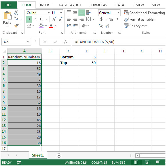 Generate a Random Value between Two Limits in Microsoft Excel