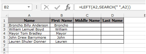Extract The First Middle And Last Name In Excel 2010