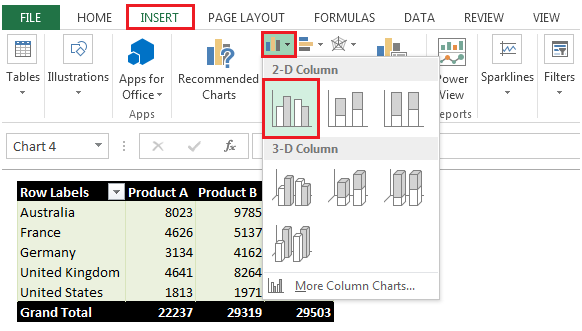 Pivottable report inserting a chart in microsoft excel for Table design ribbon in excel