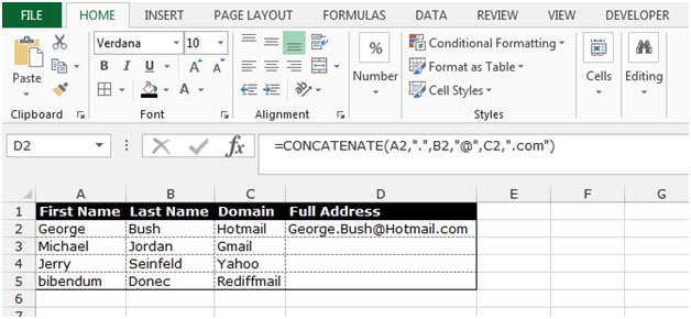 Creating Email Address using Concatenate Function in MS Excel