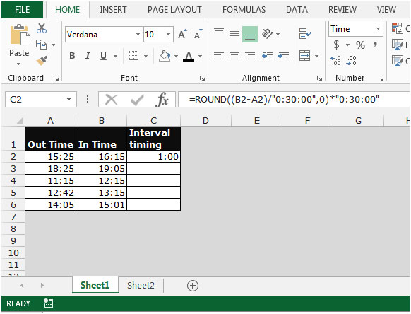 how to create time intervals in excel