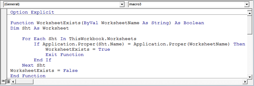 Determine if a sheet exists in a workbook using VBA in ...