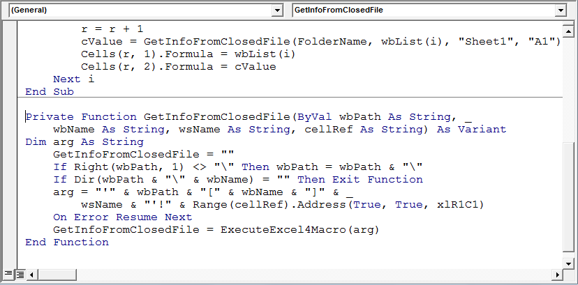 Read information from a closed workbook using VBA in