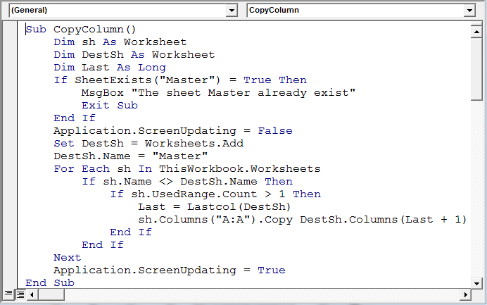 copy a column or columns from each sheet into one sheet
