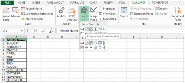 Add Combo Box to a Sheet in Microsoft Excel 2010