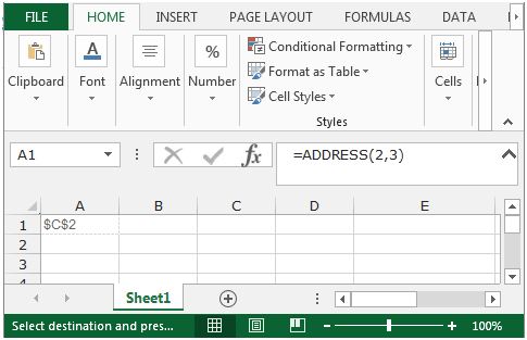 Address Function In Microsoft Excel