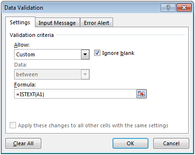 Restricting Cell Entries to Text Only in Microsoft Excel 2010