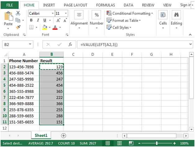 Make LEFT Function recognize a number in Excel