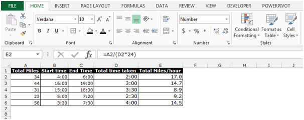 Calculate Average Speed in Microsoft Excel – Calculating Average Speed Worksheet