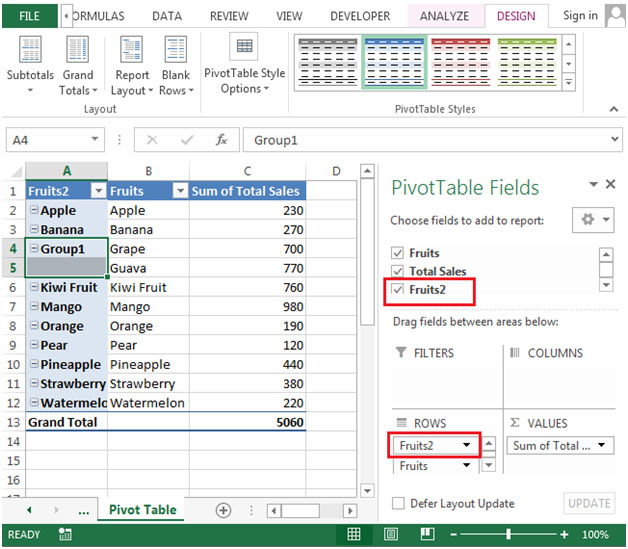 """PivotTable"""" report – Grouping Text Fields in Microsoft Excel"""