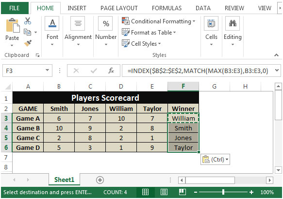 Retrieving the Column Header of the Largest Value in a Row
