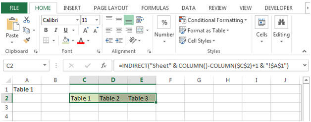 Retrieving a Specific Cell from Multiple Sheets in Excel 2010