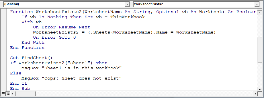Determine if a sheet exists in a workbook using VBA in Microsoft ...
