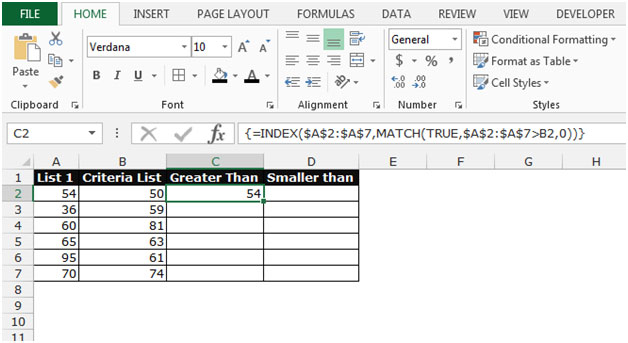 Retrieving the First Value in a List that is Greater / Smaller than ...
