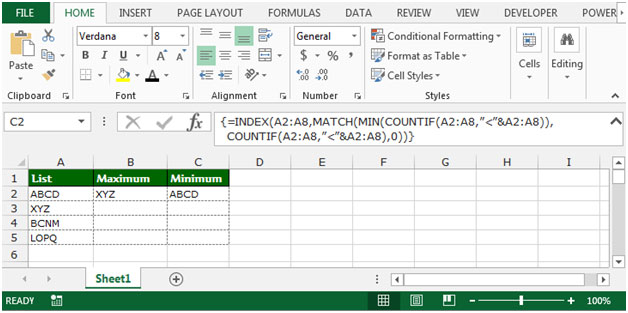 how to find minimum on excel