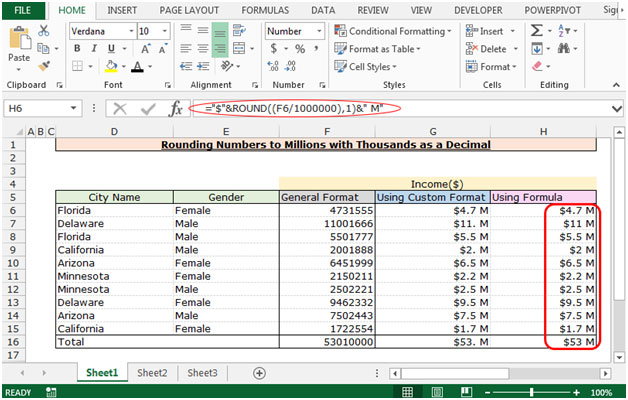 Rounding Numbers To Millions With