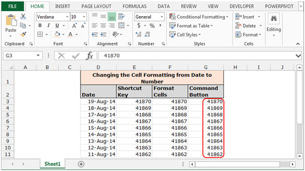 Changing the Cell Formatting from Date to Number in