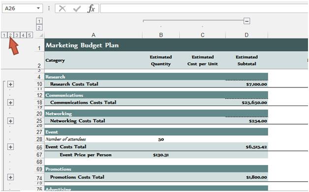 budget outlines excel