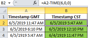 Convert Date and Time from GMT (Greenwich Mean Time) to CST (Central