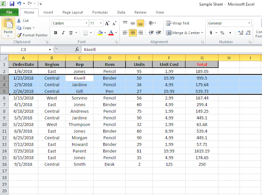 How to Select Entire Column in Excel or Row Using Keyboard