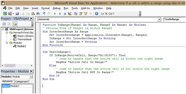 Determine if a cell is within a range using VBA in Microsoft