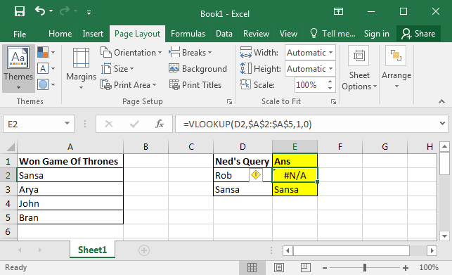 Using VLOOKUP Formula to Check If a Value Exists