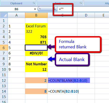 Excel 2010 COUNT Functions – COUNT, COUNTA, COUNTIF and COUNTBLANK ...